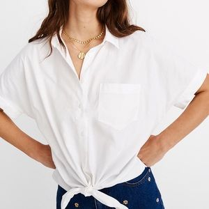 MADEWELL | Short Sleeve Tie Button Down Blouse